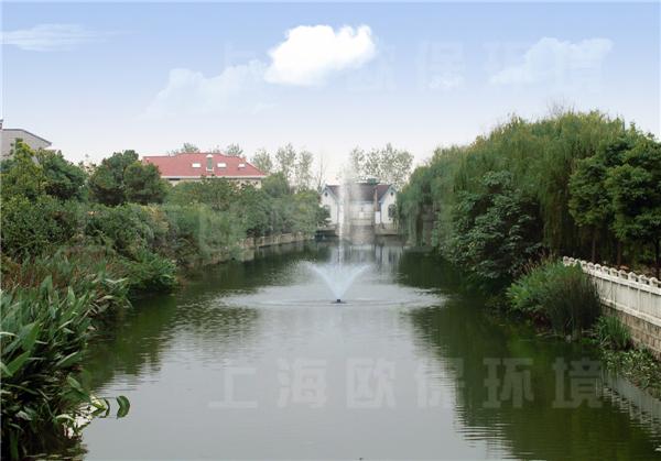 浮水喷泉曝气机,生态浮岛,在上海二里泾河道治理中的应用