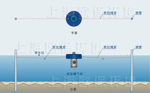 单台浮水喷泉式曝气机对称插杆固定