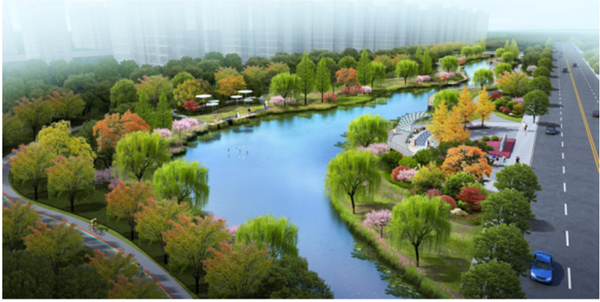 针对这些问题,在规划设计金毕河水环境综合治理工程时,充分考虑到河道行洪、水环境整治、滨水景观塑造等诸多因素,对河道水位、驳岸、开放空间、文化景点等方面作出了考量与设计。科学计算新城雨洪流量,合理设计河道断面形式,确保汛期河道行洪安全;同时,恢复河道良好环境生态,加强水岸与城市发展的综合关联,营造优质的城市滨水景观带,突出城市水文化,营造特色人文滨水景观。